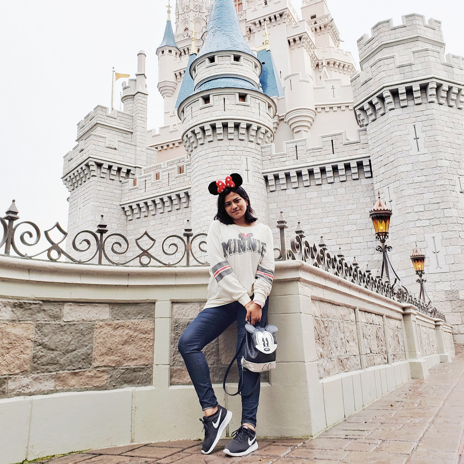 Bangali Girl Wearing Minnie Mouse Ears By Cinderella Castle