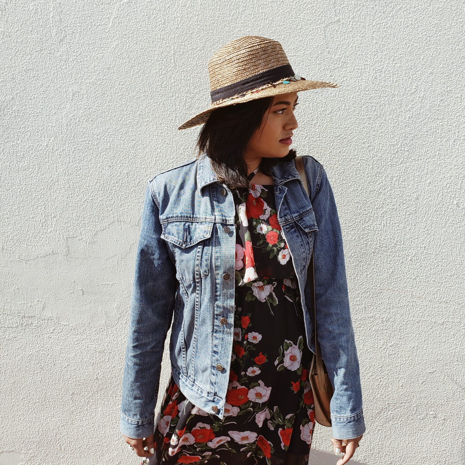 Floral Dress Free People Hat Sunny Street Style