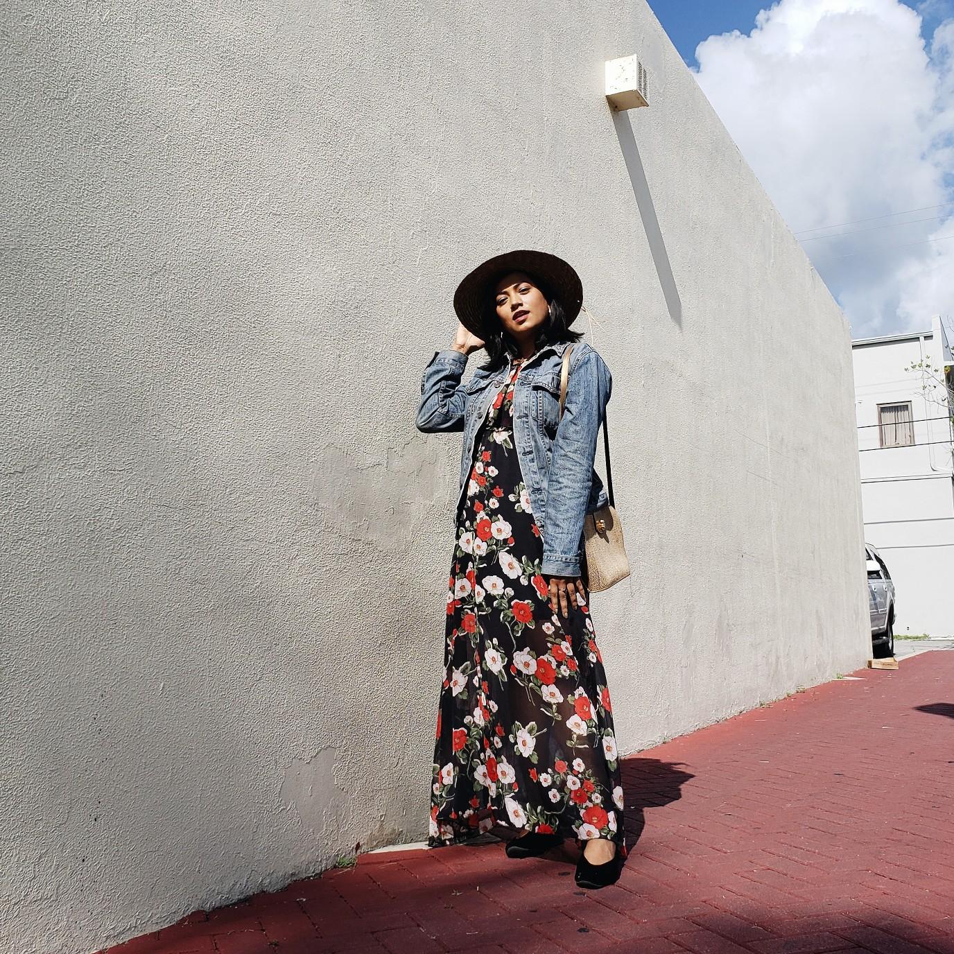 Dark Floral Maxi Long Dress Summer Street Style