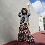 Dark Floral Maxi Dress Street Style Outfit Inspiration Miami Fashion Blogger