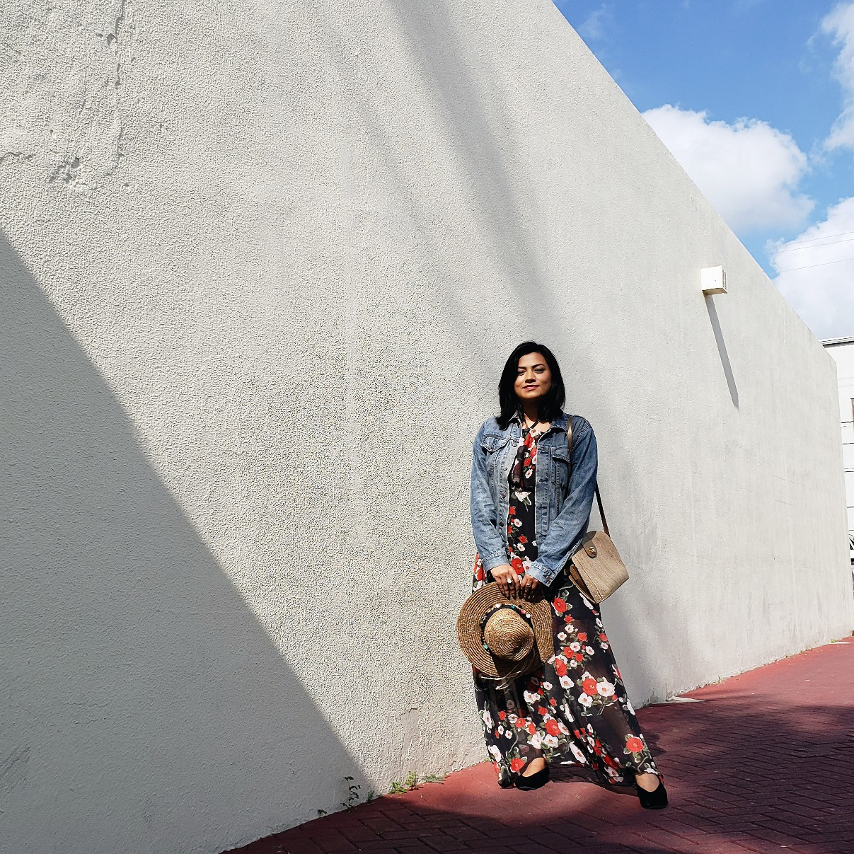 Sunshine Summer Jean Jacket Dark Floral Maxi Dress Fashion Blogger