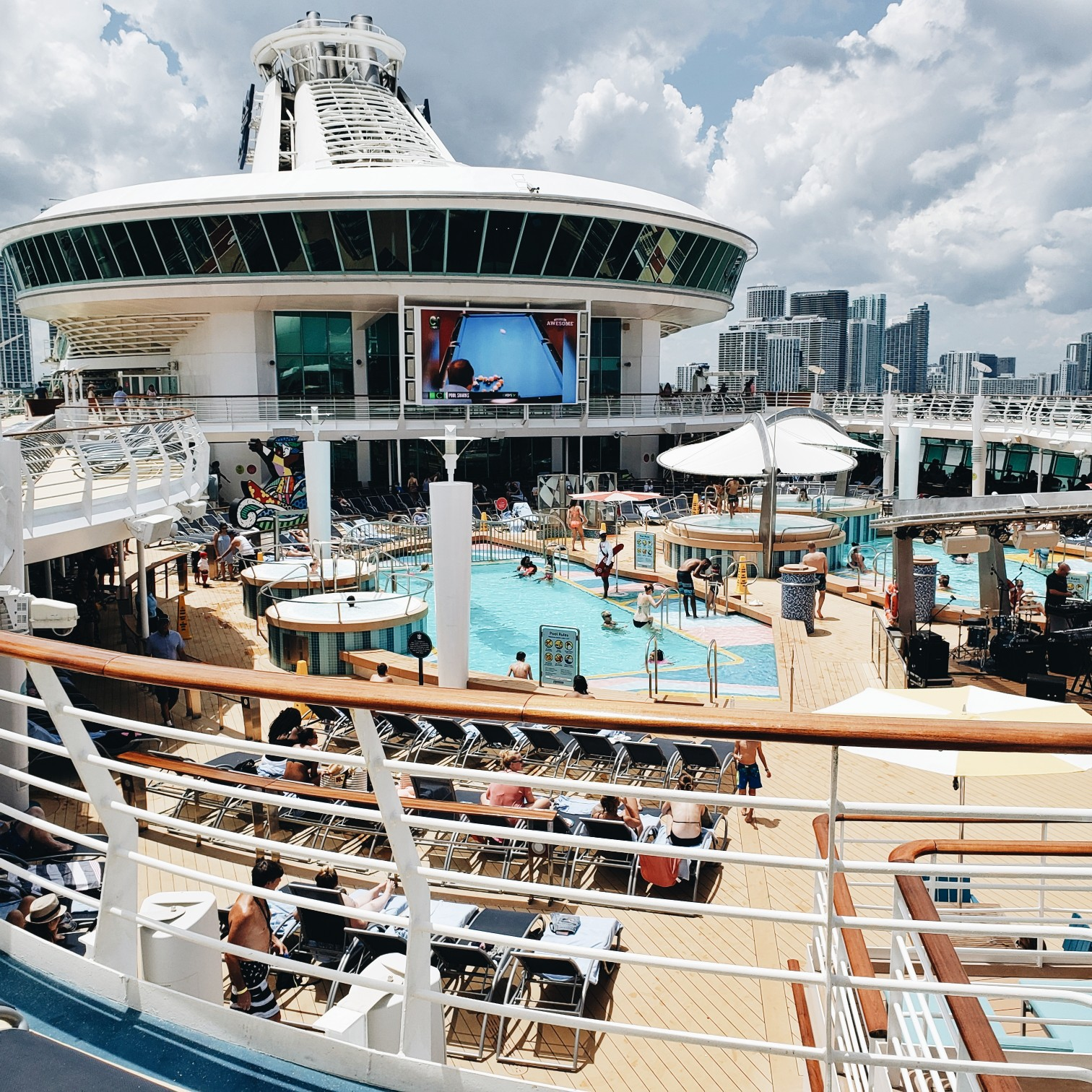 Royal Caribbean Mariner of the Seas Pool Deck With Giant TV Screen