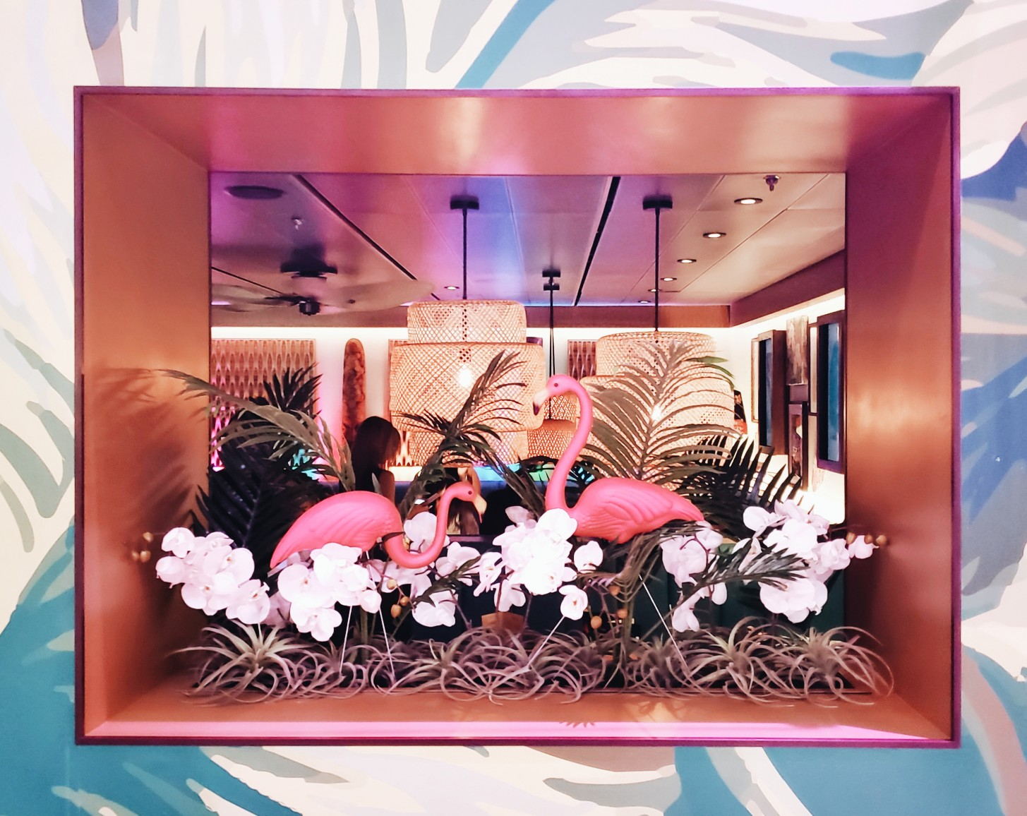 Royal Caribbean Interior Bamboo Room Pink Flamingos on the window