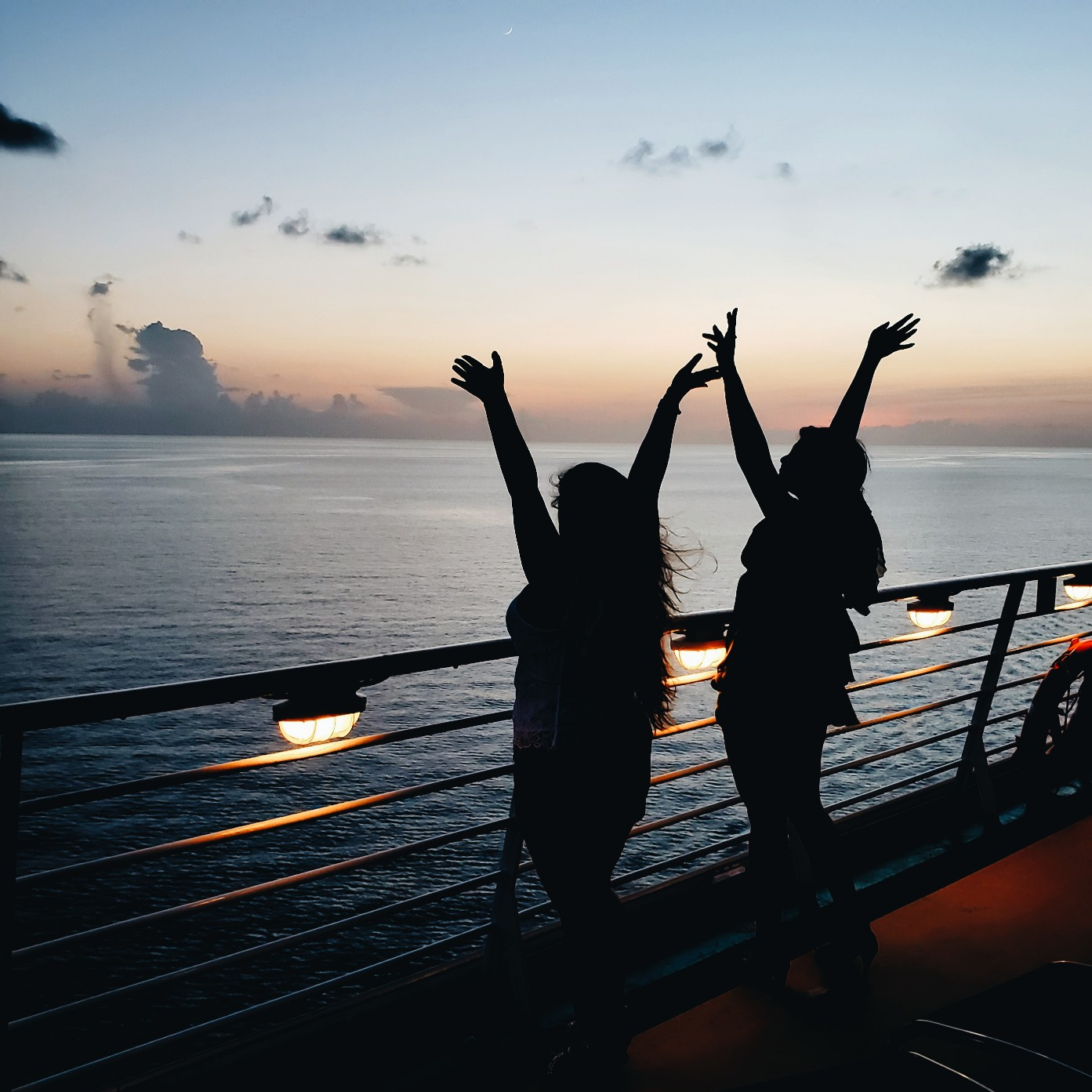 Two Girls Best Friends Happy Silhouette Sunset Cruise