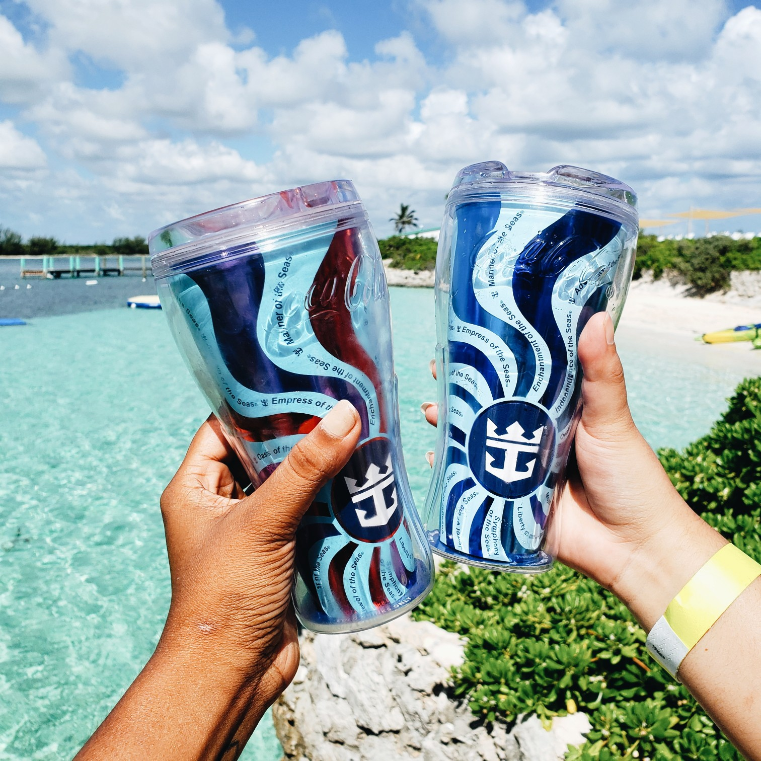 Royal Caribbean Souvenir Cups Near Beach