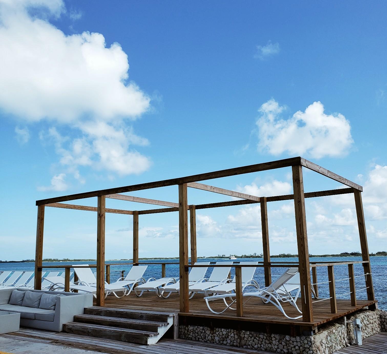Private Cabanas Clear Blue Sky Pearl Island Nassau Bahamas