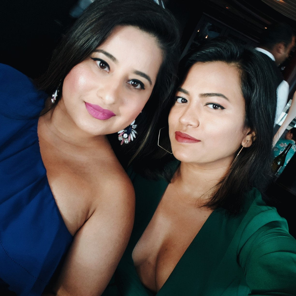 Best Friends in Blue and Green Dress Desi Girls