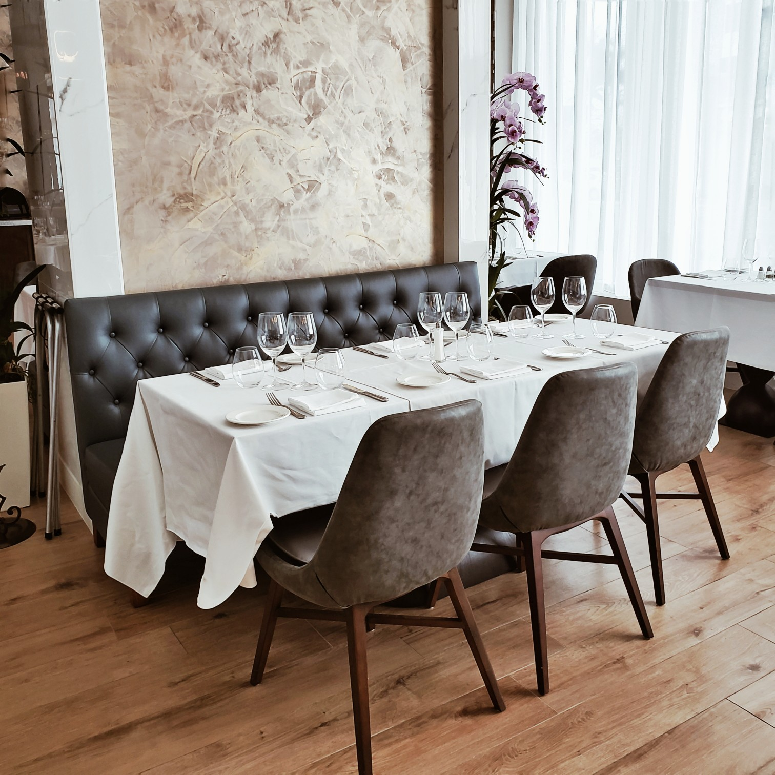 Chic restaurant table setting at Circ Hotel