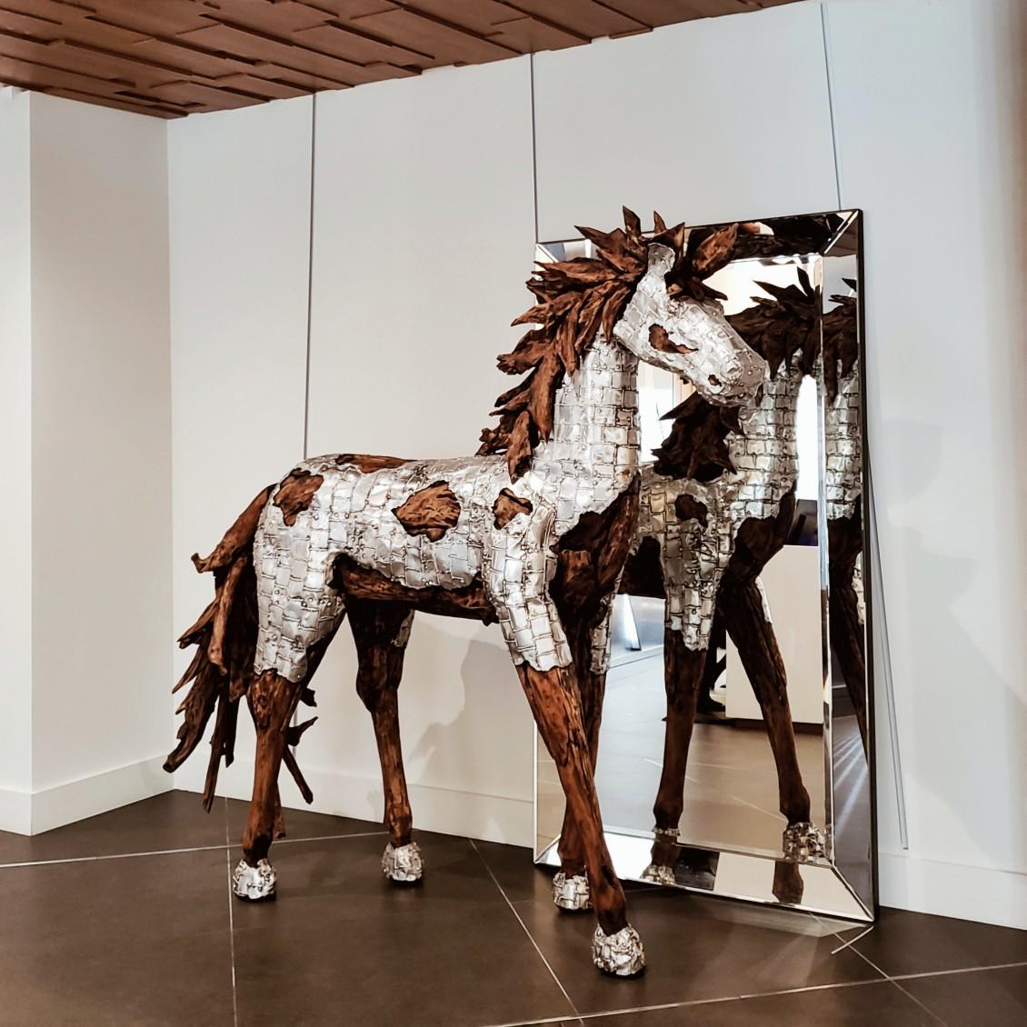 Bronze Silver Horse Decoration Hotel Lobby