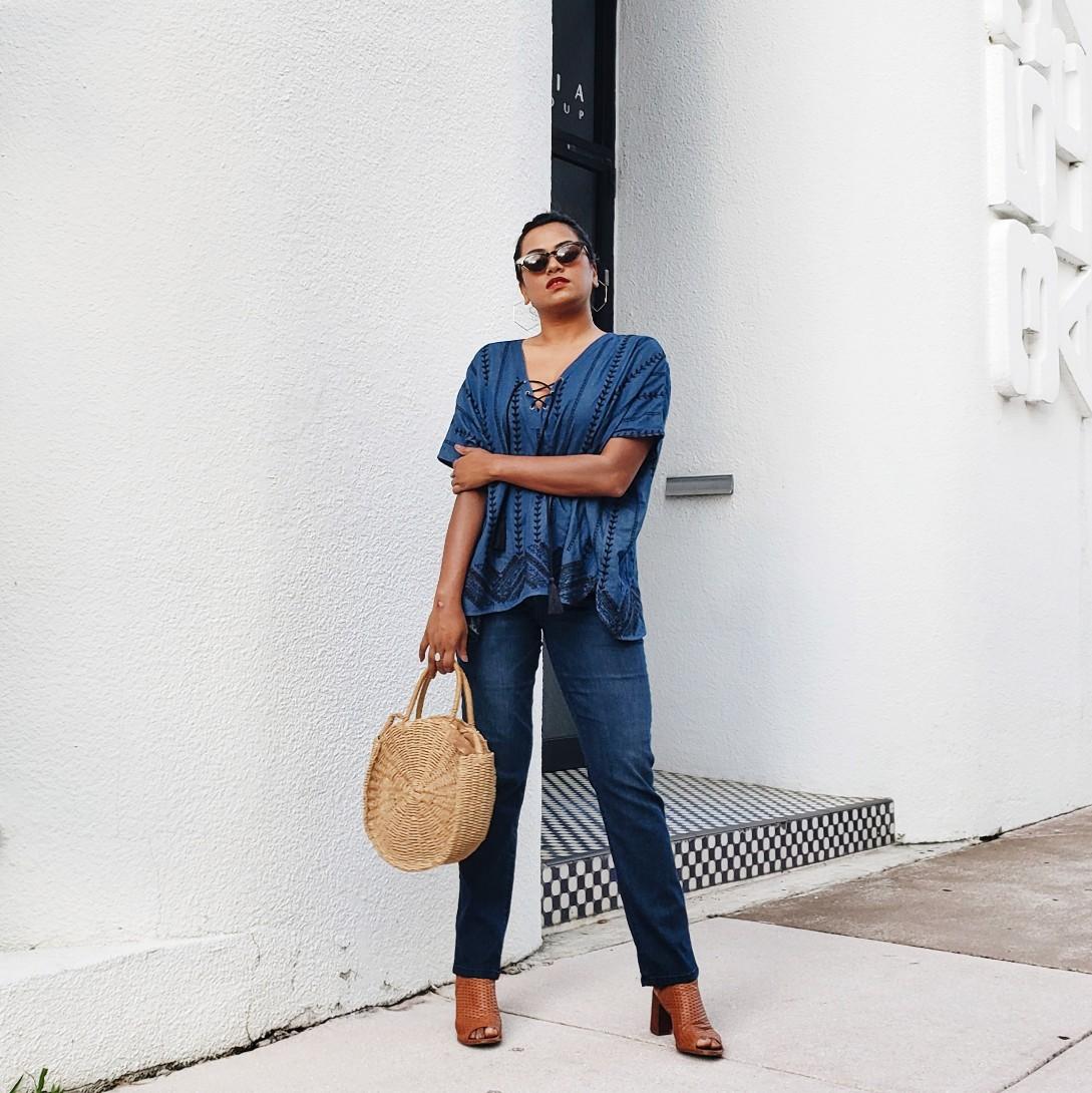 Fashion Blogger Blue Jeans Straw Bag Street Style