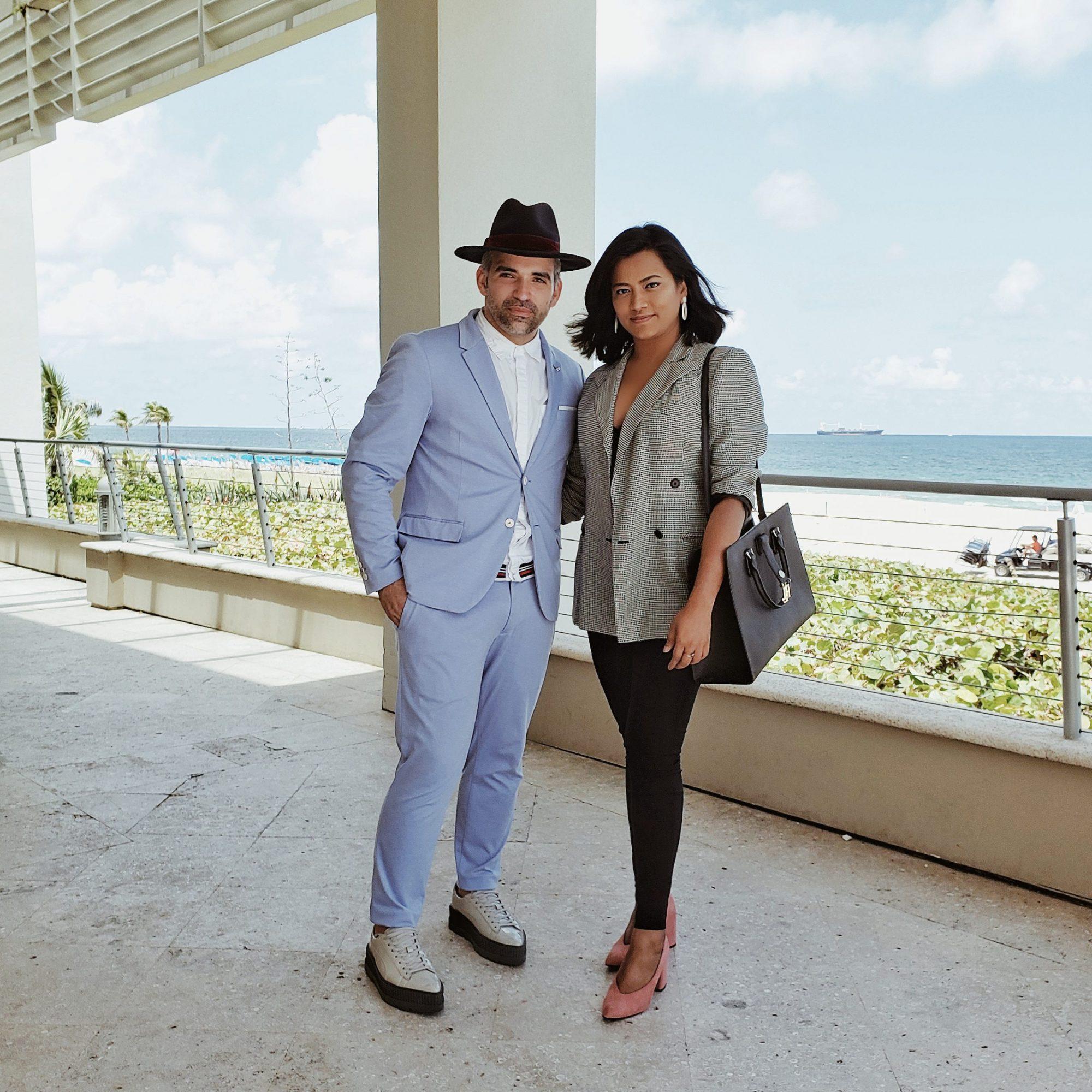 Cintas Fashion Designer Gustavo Alonzo & Miami Fashion Blogger Afroza Khan