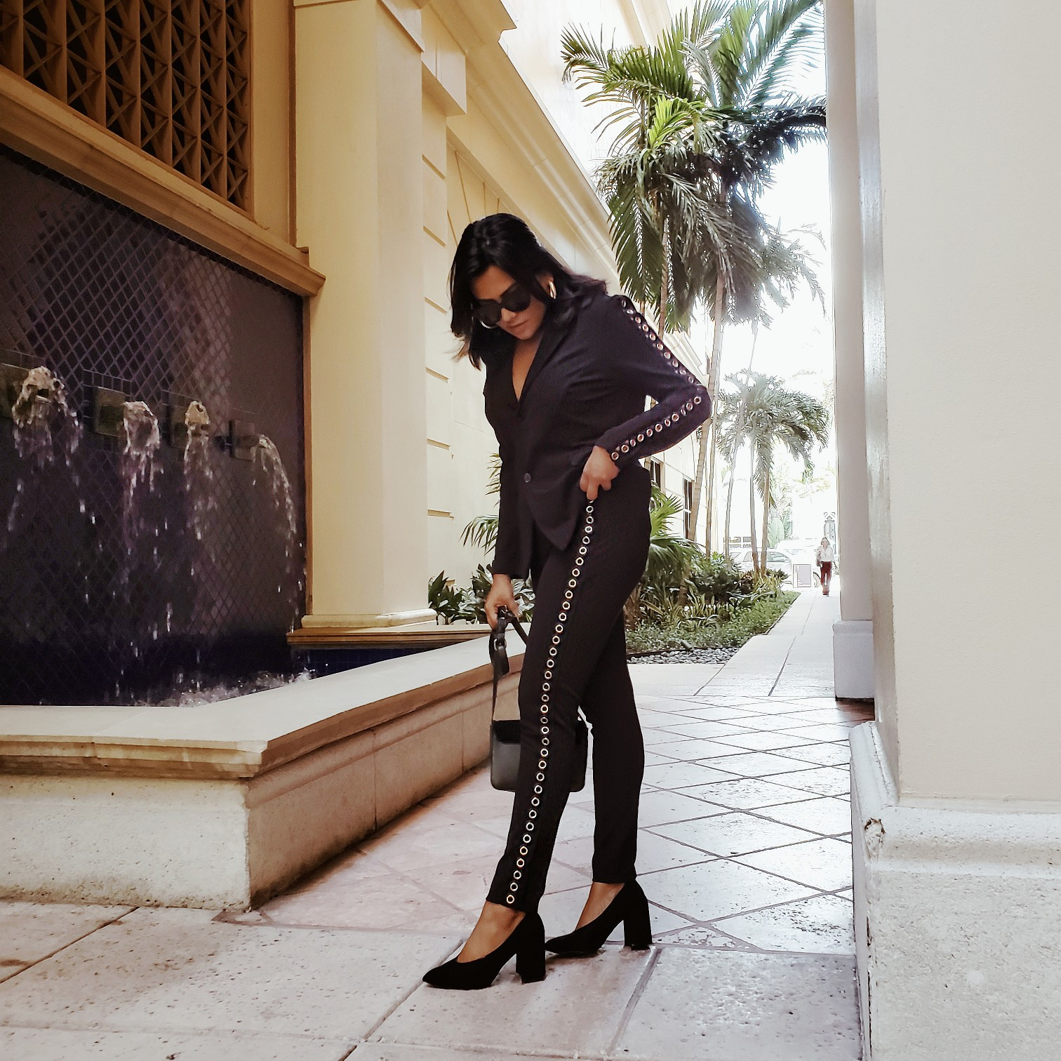 Miami Blogger Afroza Khan Grommet Style Pant Suit Fall Fashion Style