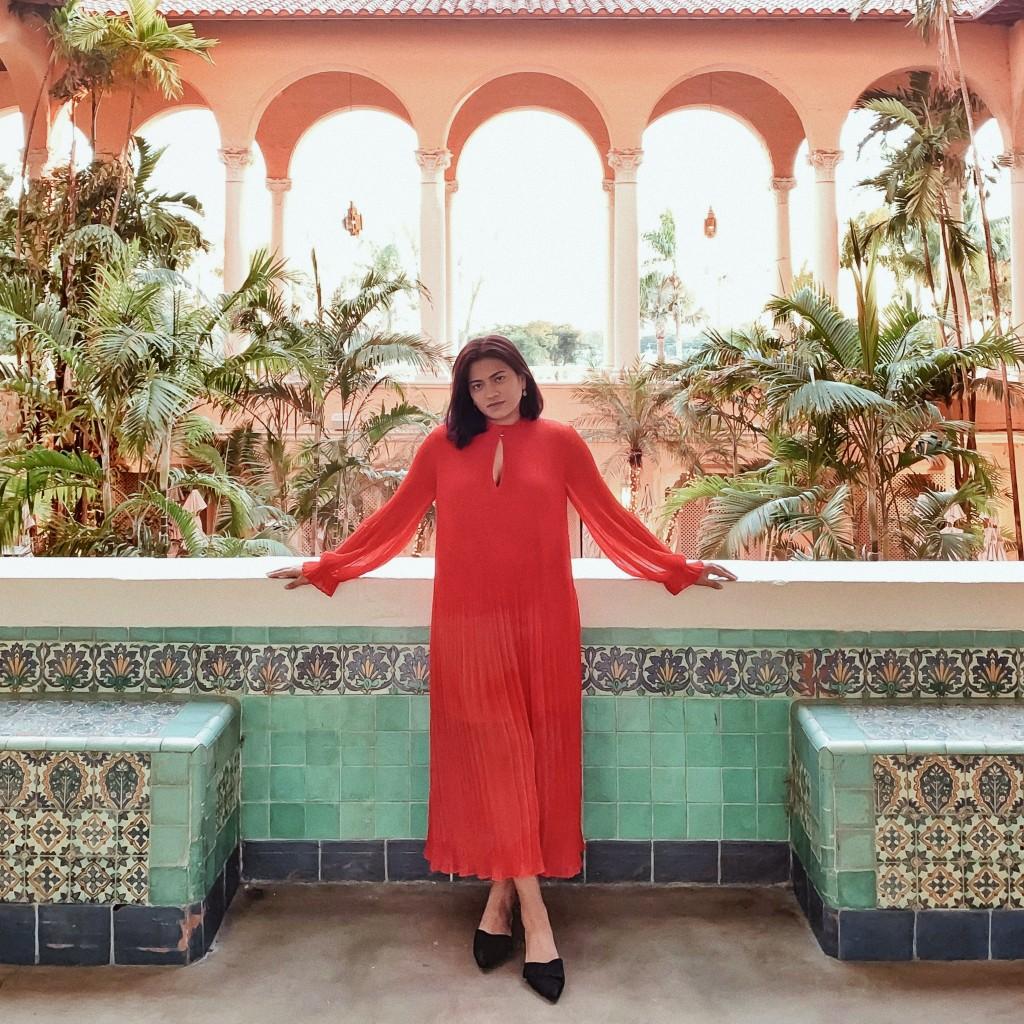 Afroza Khan Miami Lifestyle & Travel Blogger at Biltmore Hotel Miami Coral Gables wearing red long chiffon maxi dress