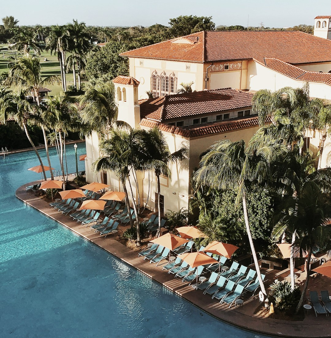 Biltmore Hotel Miami Coral Gables Luxury Staycation pool crystal clear water and palm trees