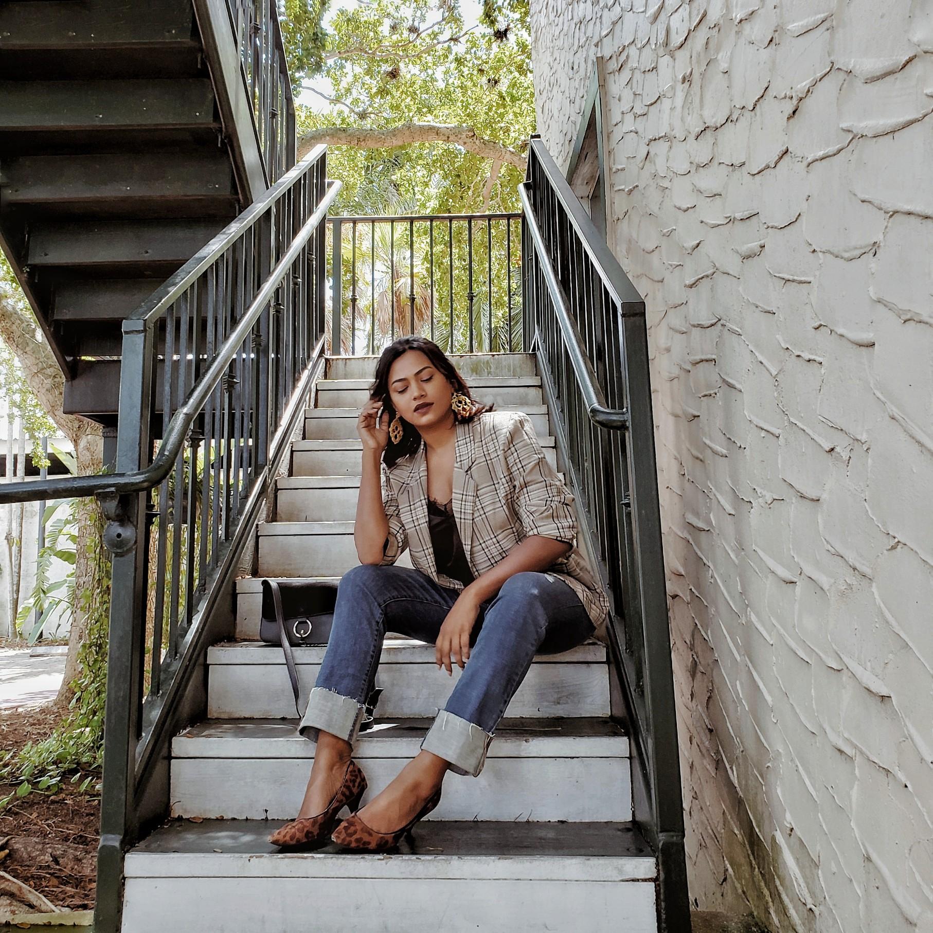 Miami Fashion Blogger Afroza Khan wearing plaid jacket and leopard heels fall 2018