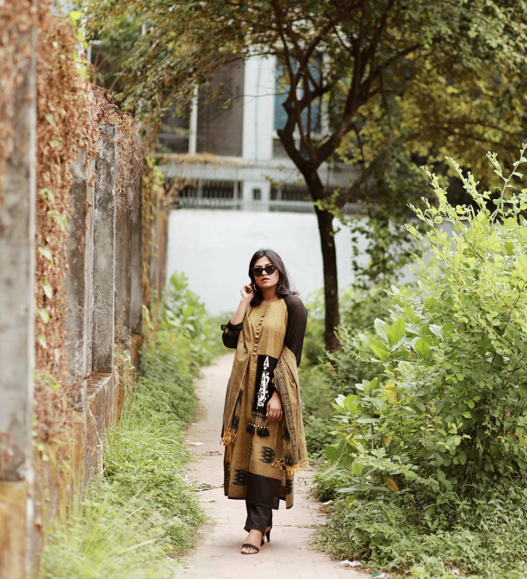 Bangladesh Travel Blogger Afroza Khan Wearing Brac Aarong Tan and Black Salwar Kameez