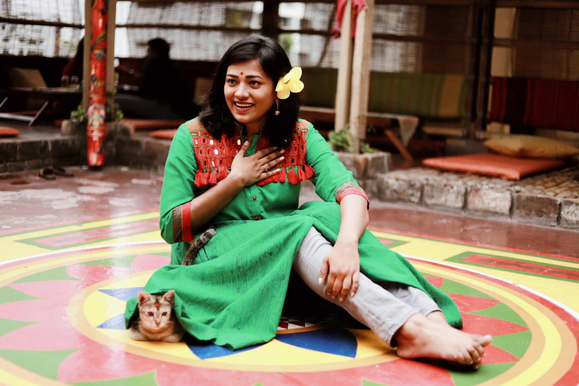 Bangladesh Fashion Blogger at Jatra Biroti Cute Cat under Salwar Kameez
