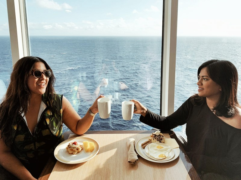Miami Fashion Bloggers enjoying Royal Caribbean Cruise Breakfast