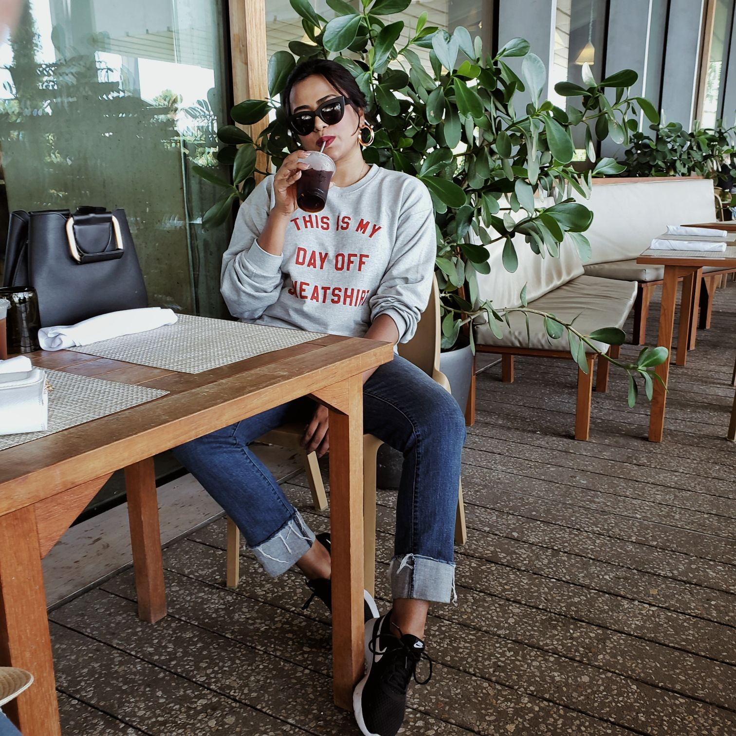 Top Blogger Afroza Khan Afroza Khan Grey This Is My Day Off Sweat Shirt Print Sweater Miami Fasion