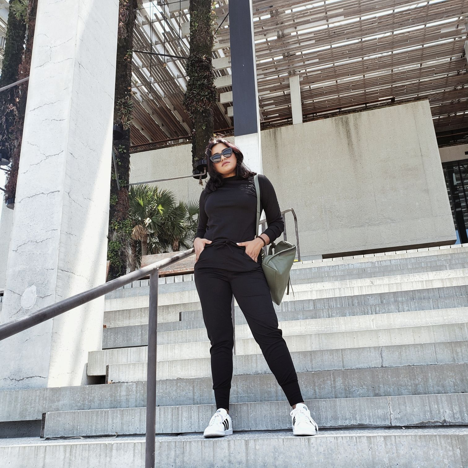 Chic Black Long Sleeve Loungewear Set Femme Luxe Finery All Black Outfit Afroza Khan Miami Fashion Blogger
