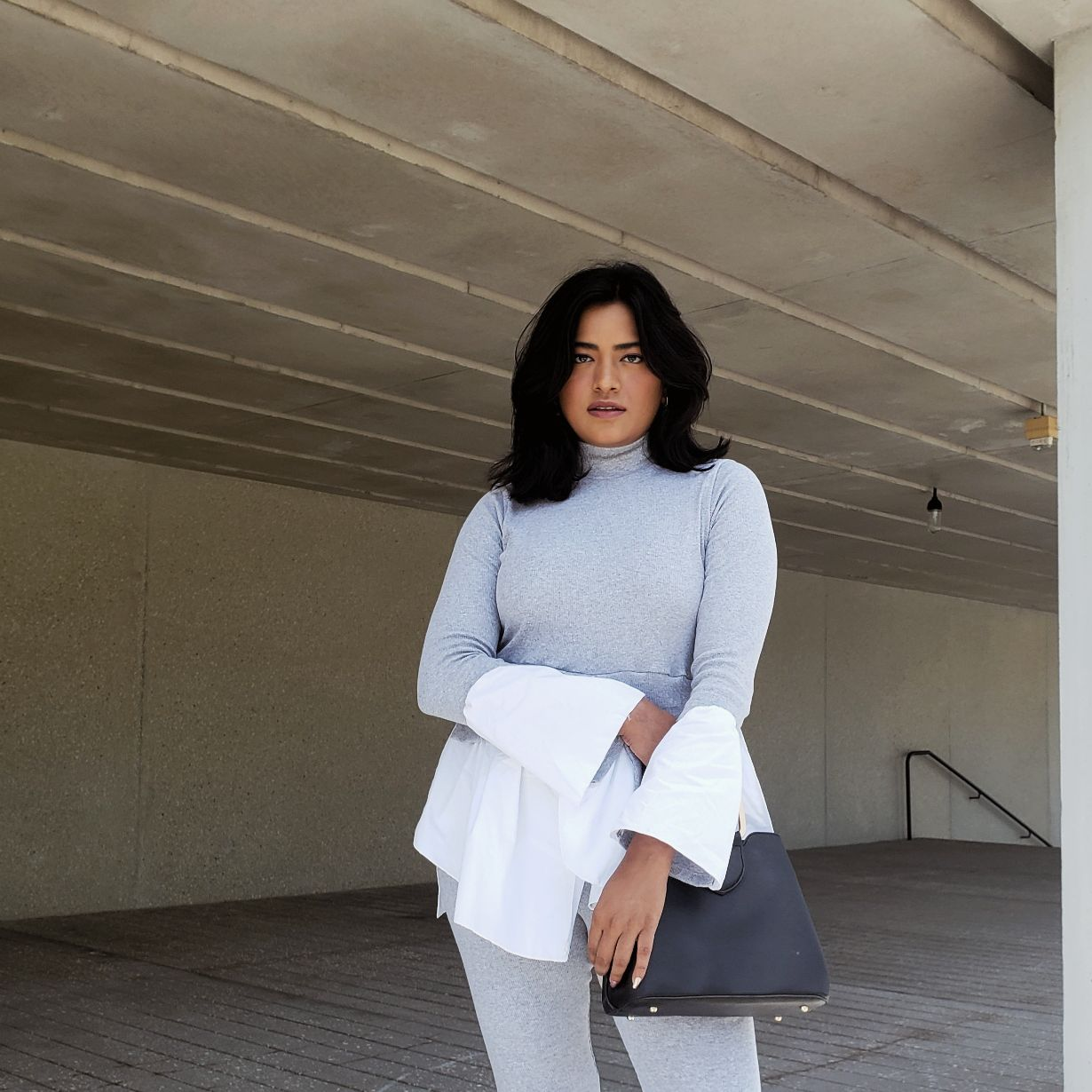 Afroza Khan wearing Grey Layered Look Jumper Shirt Loungewear Femme Luxe Finery Miami Style Blogger