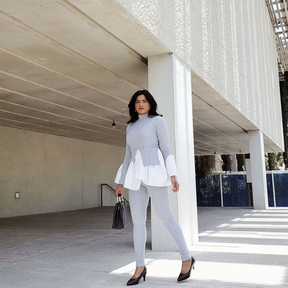 Grey Layered Look Jumper Shirt Loungewear Femme Luxe Finer Miami Style Blogger