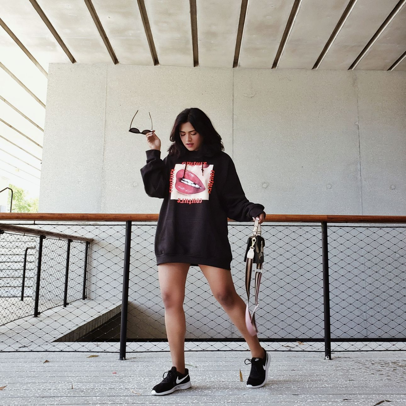 Afroza Khan Miami Fashion Blogger Black Couture Print Hoodie Femme Luxe Finery Afroza khan Miami Street Styl
