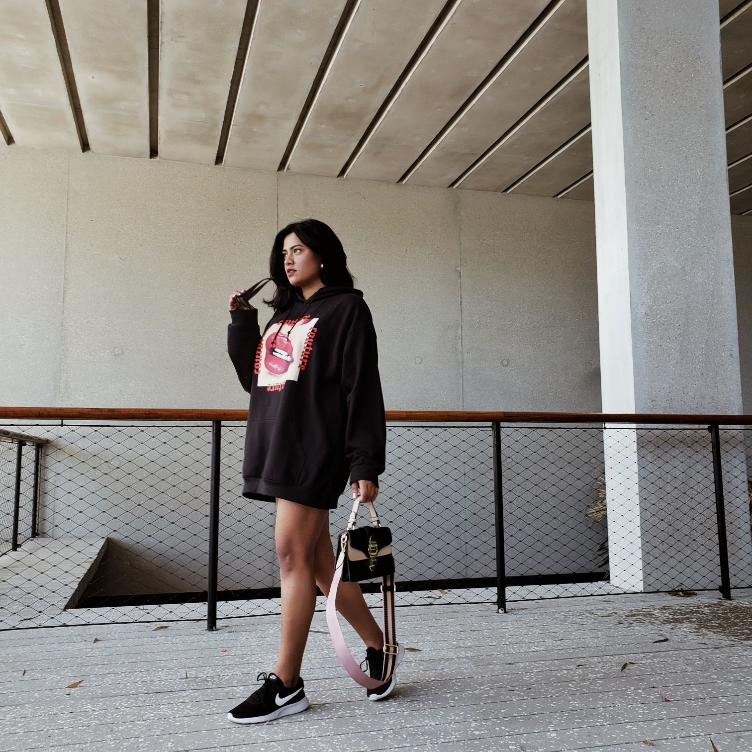 Black Couture Print Hoodie Large Red Lips Femme Luxe Finery Miami Street Style