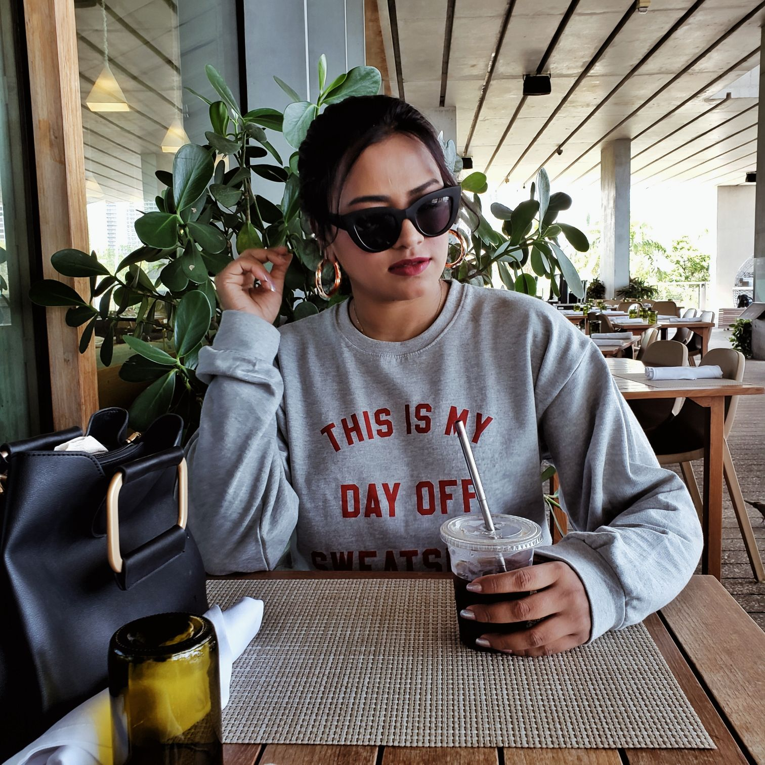 Grey This Is My Day Off Sweat Shirt Print Sweater Miami Fashion Style Blogger
