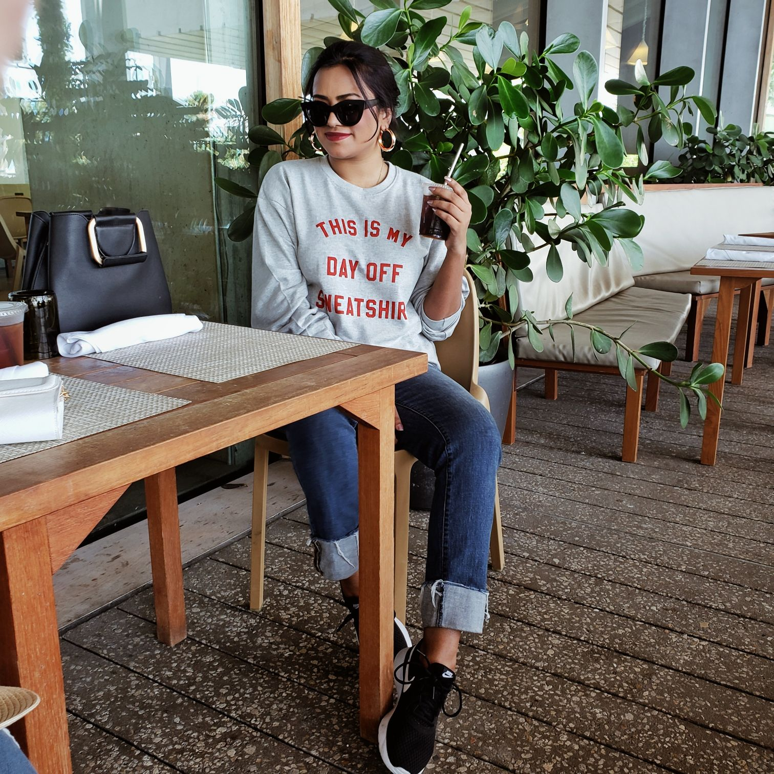 Afroza Khan Grey This Is My Day Off Sweat Shirt Print Sweater Miami Fashion Style Blogger
