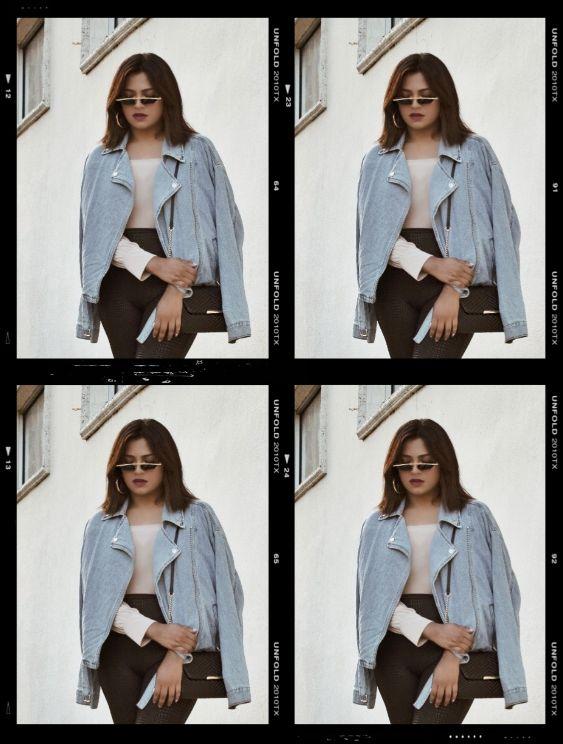 Afroza Khan Miami Street Style Fashion Blogger Jean Jacket and Snake Print Black Pants Tiny Black Sunglasses