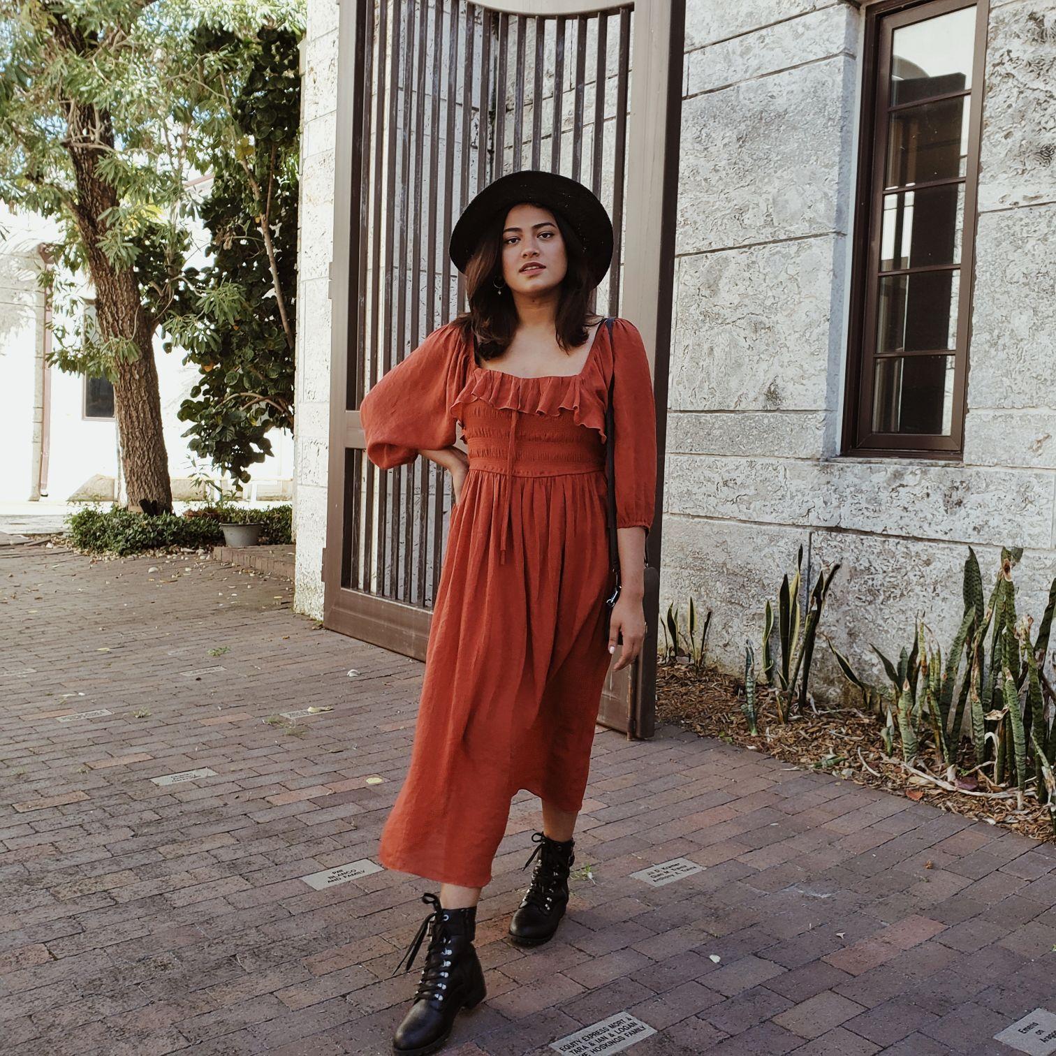 Bangladeshi American Fashion Blogger Afroza Khan in Miami wearing Boho Burnt Orange Dress