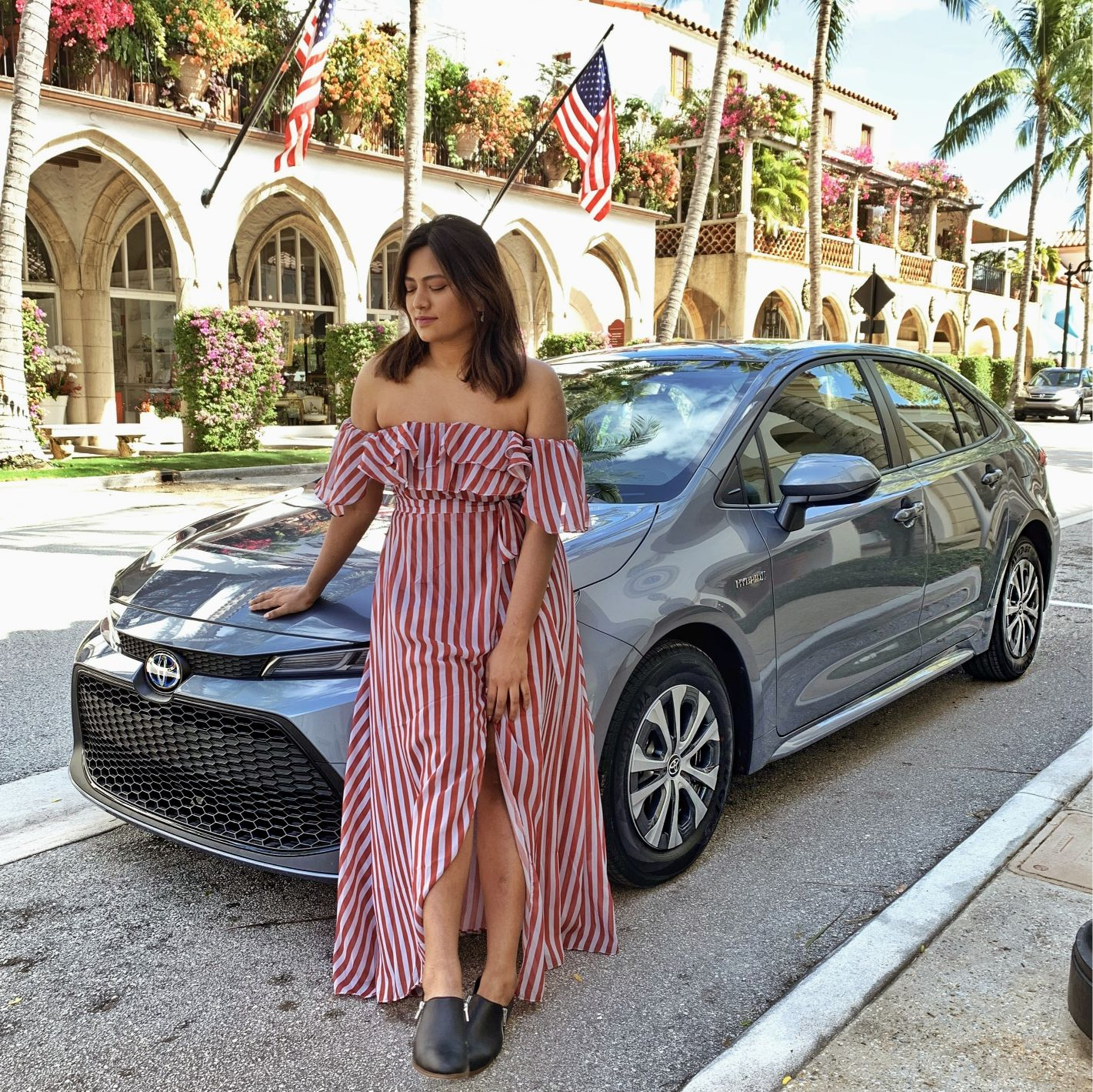 Afroza Khan Car Blogger with 2020 Toyota Corolla Hybrid Miami West Palm Beach Drive