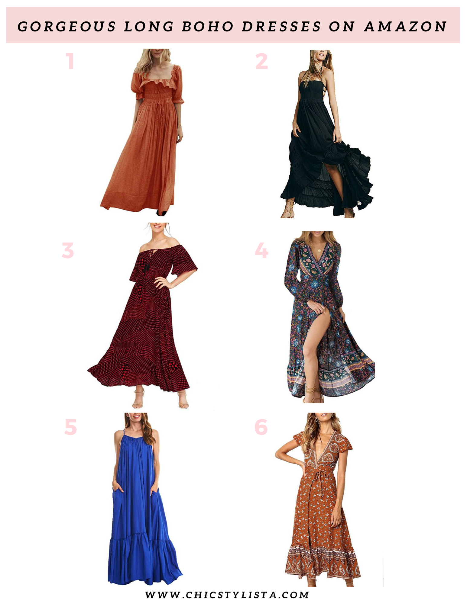 Shop Gorgeous Long Boho Dresses on Amazon Prime