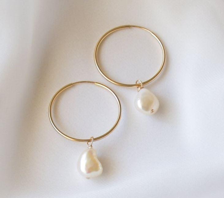 Pearl Hoop Earrings Etsy