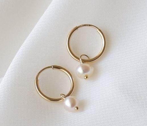 Pearl Huggie Earrings - Gold Huggies
