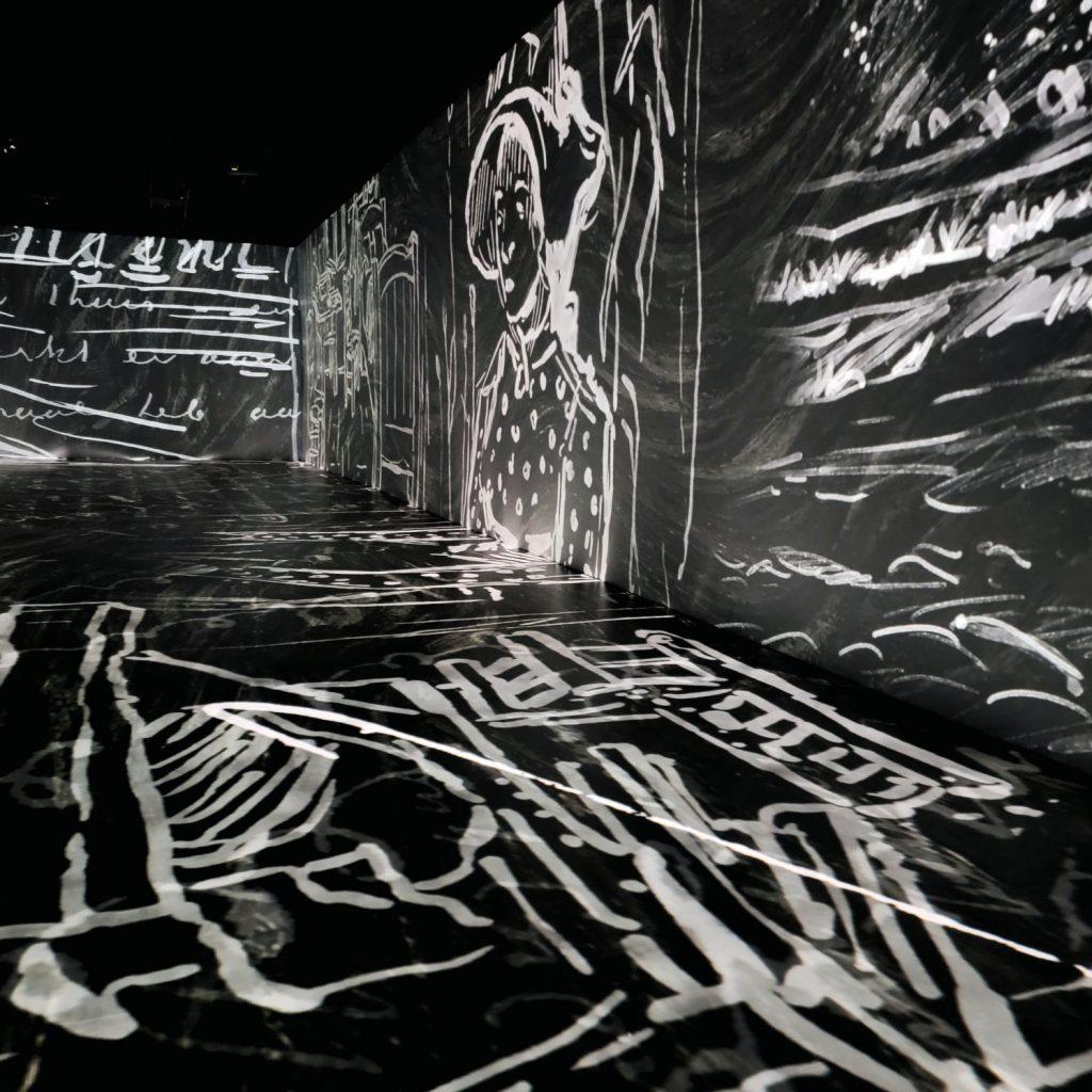 Black and White Chalk Art by Van Gogh